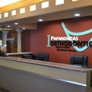 Papandreas Orthodontics office front desk.