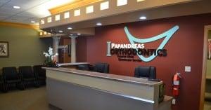 Papandreas Orthodontics office front desk.