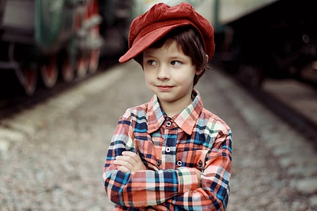 boy in train yard