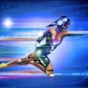 super woman flying in cyber